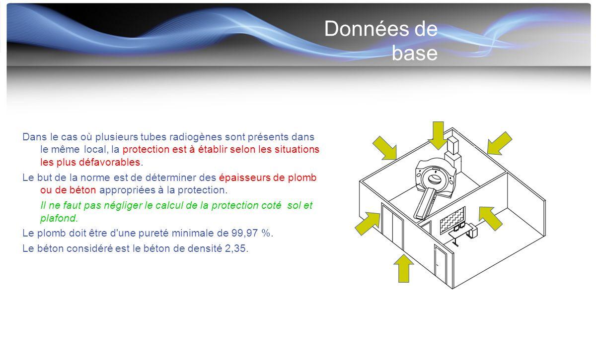 Méthode de calcul Trois types de rayonnement a considérer: - le rayonnement primaire - le rayonnement diffusé - le rayonnement de fuite Trois étapes (pour chaque type de rayonnement) : 1) détermination du débit d équivalent de dose en un point donné d un lieu occupé sans écran protecteur 2) détermination du facteur d atténuation F 3) détermination de l épaisseur théorique de plomb correspondant au facteur F Les trois composantes, Fp, Fs et Fg dépendent, en particulier, de la charge de travail W.