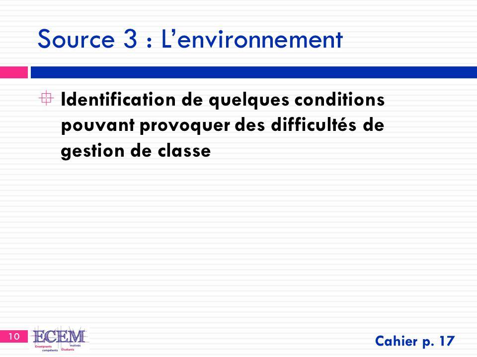 10 Source 3 : L'environnement  Identification de quelques conditions pouvant provoquer des difficultés de gestion de classe Cahier p. 17