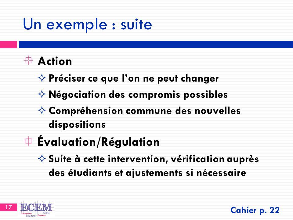 17 Un exemple : suite  Action  Préciser ce que l'on ne peut changer  Négociation des compromis possibles  Compréhension commune des nouvelles disp