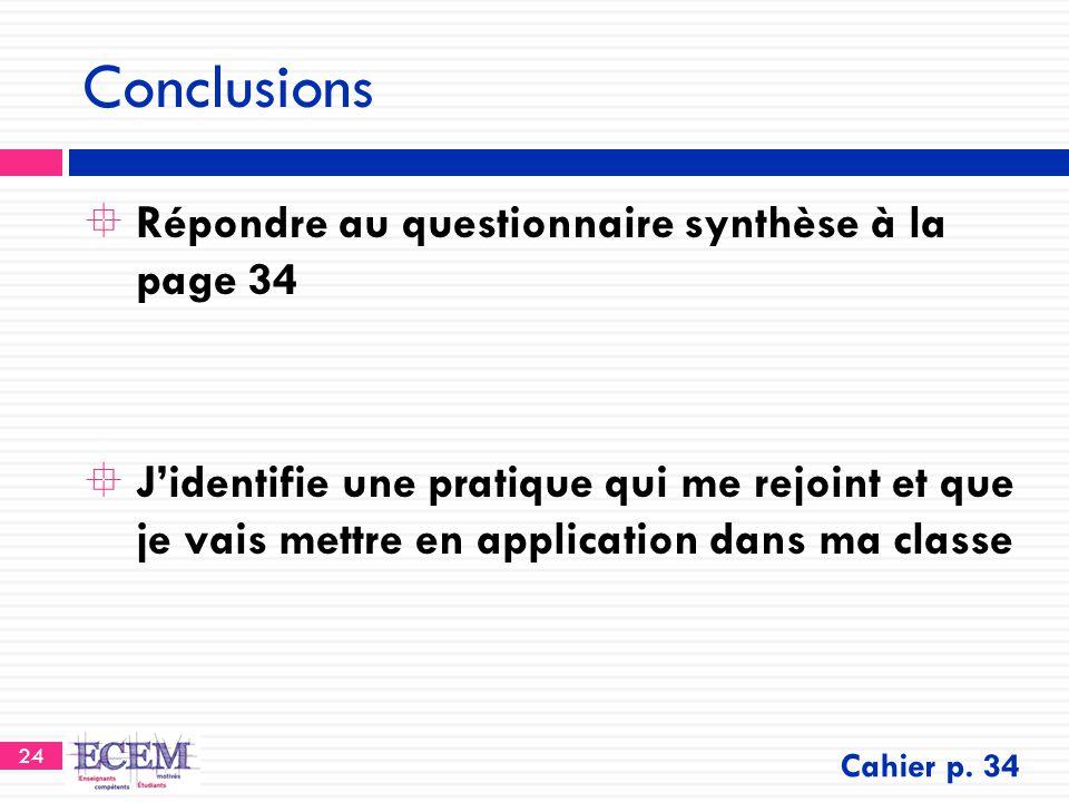 24 Conclusions  Répondre au questionnaire synthèse à la page 34  J'identifie une pratique qui me rejoint et que je vais mettre en application dans m