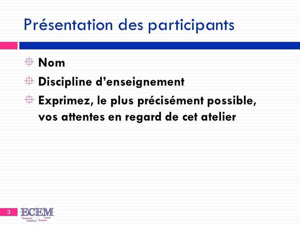 3 Présentation des participants  Nom  Discipline d'enseignement  Exprimez, le plus précisément possible, vos attentes en regard de cet atelier