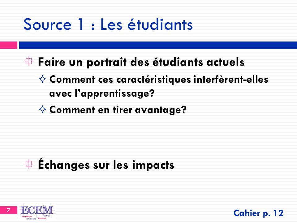 7 Source 1 : Les étudiants  Faire un portrait des étudiants actuels  Comment ces caractéristiques interfèrent-elles avec l'apprentissage?  Comment