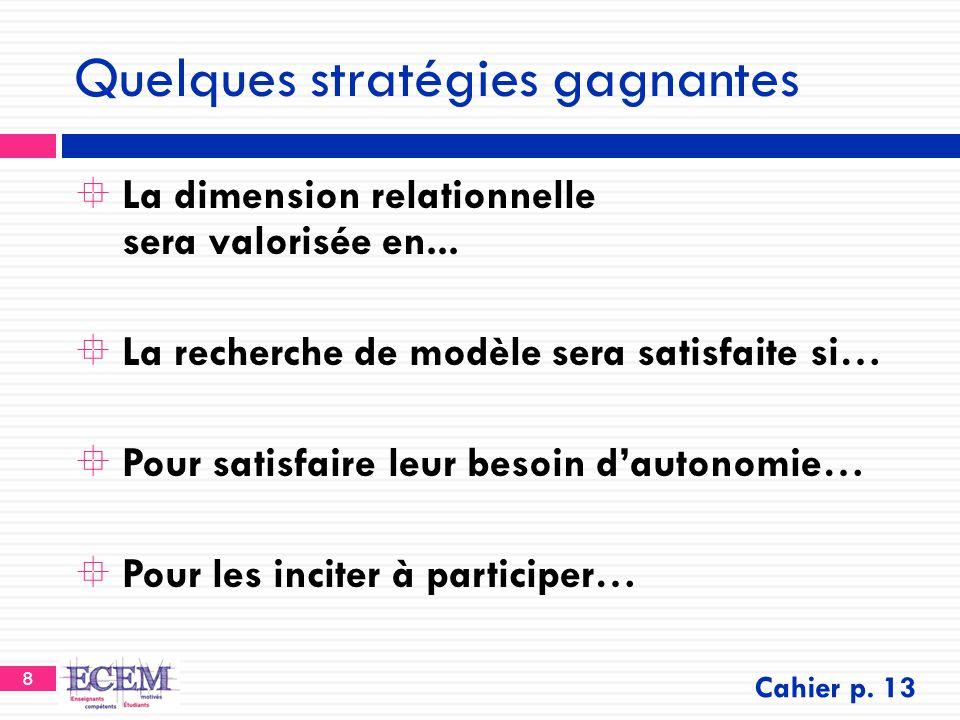 8 Quelques stratégies gagnantes  La dimension relationnelle sera valorisée en...  La recherche de modèle sera satisfaite si…  Pour satisfaire leur