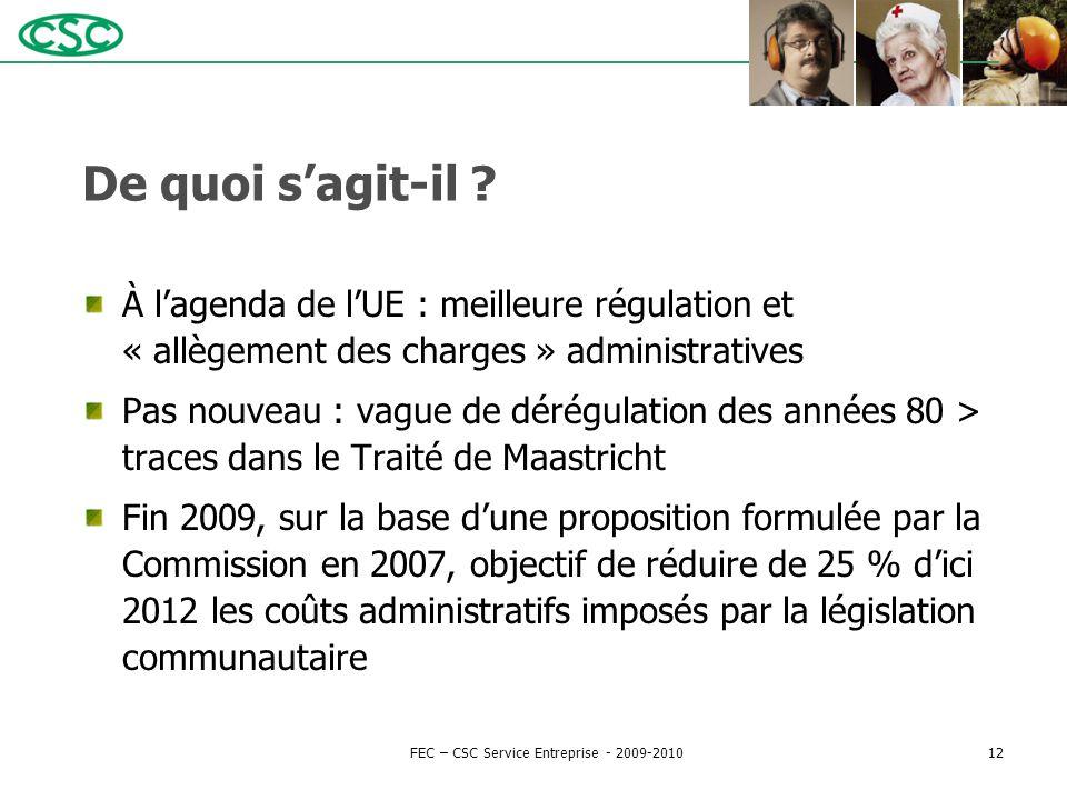 De quoi s'agit-il ? À l'agenda de l'UE : meilleure régulation et « allègement des charges » administratives Pas nouveau : vague de dérégulation des an