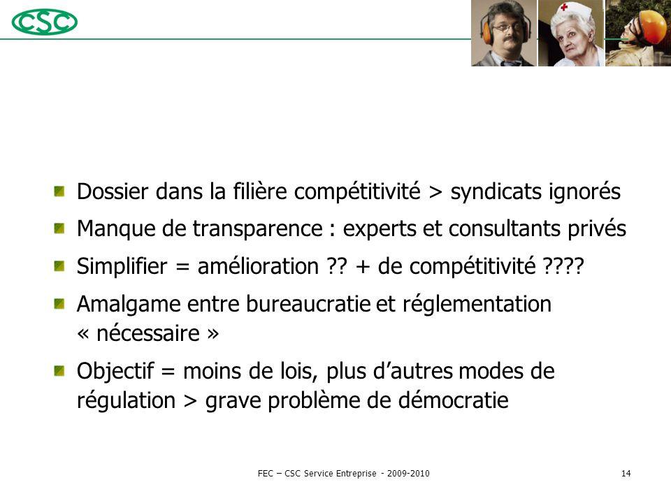 Dossier dans la filière compétitivité > syndicats ignorés Manque de transparence : experts et consultants privés Simplifier = amélioration ?? + de com