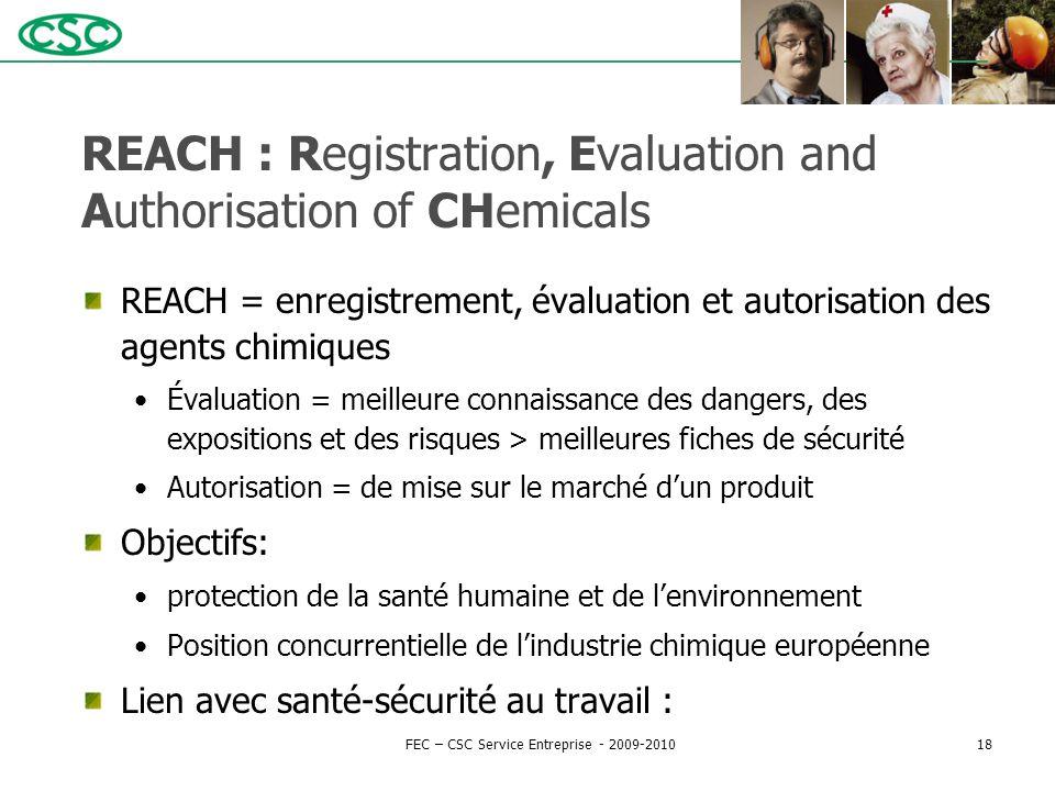 REACH : Registration, Evaluation and Authorisation of CHemicals REACH = enregistrement, évaluation et autorisation des agents chimiques Évaluation = m