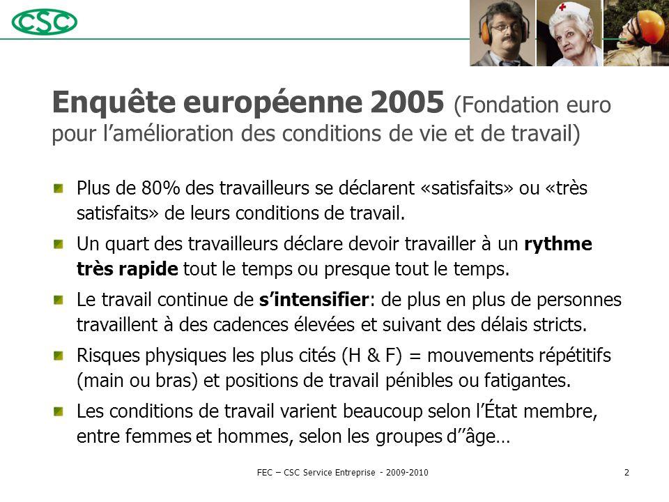 Enquête européenne 2005 (Fondation euro pour l'amélioration des conditions de vie et de travail) Plus de 80% des travailleurs se déclarent «satisfaits