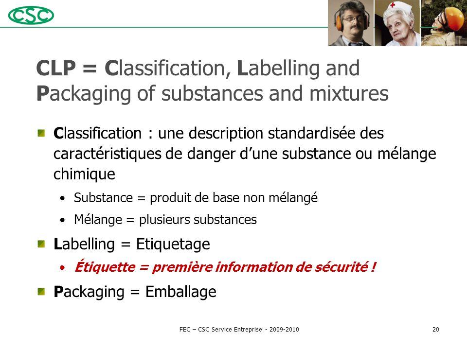 CLP = Classification, Labelling and Packaging of substances and mixtures Classification : une description standardisée des caractéristiques de danger