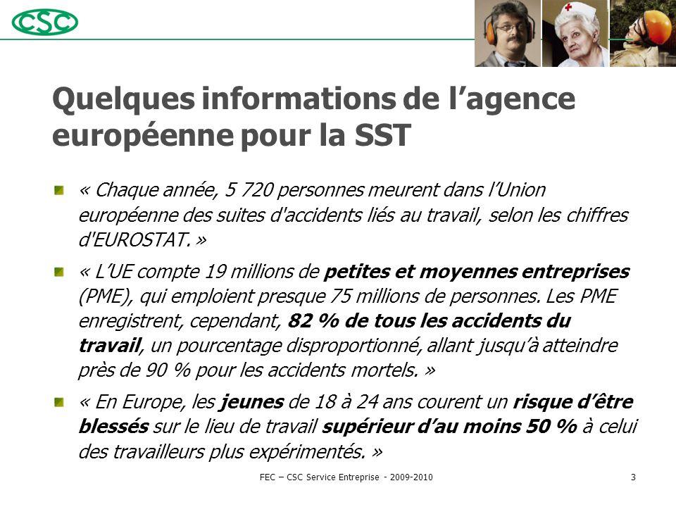 Quelques informations de l'agence européenne pour la SST « Chaque année, 5 720 personnes meurent dans l'Union européenne des suites d'accidents liés a