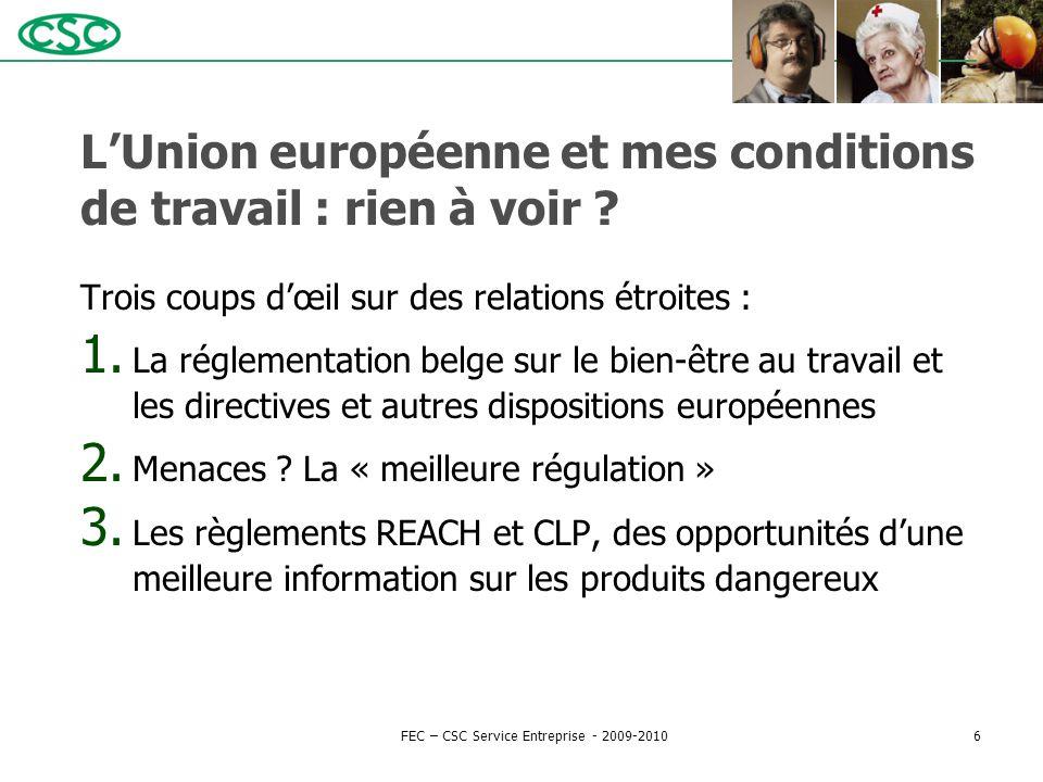 L'Union européenne et mes conditions de travail : rien à voir ? Trois coups d'œil sur des relations étroites : 1. La réglementation belge sur le bien-