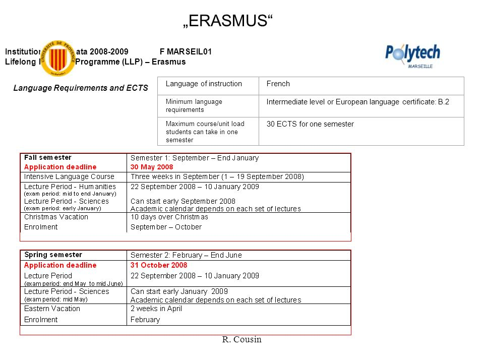 "R. Cousin ""ERASMUS"" Institutional Key Data 2008-2009 F MARSEIL01 Lifelong Learning Programme (LLP) – Erasmus Language Requirements and ECTS Language o"
