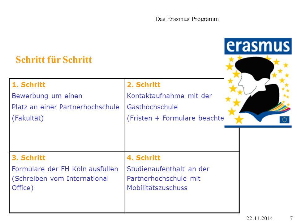 822.11.2014 Informationen über das Erasmus Programm im Internet www.international-office.fh-koeln.de/outgoings/erasmus/index.php