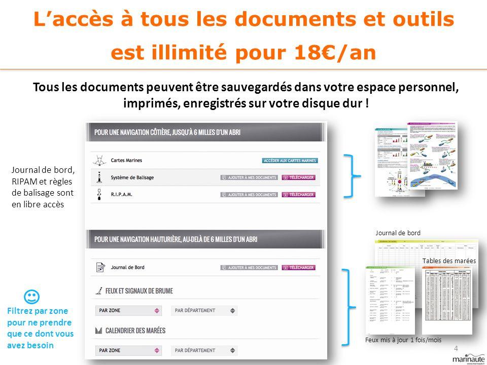 L'accès à tous les documents et outils est illimité pour 18€/an Tous les documents peuvent être sauvegardés dans votre espace personnel, imprimés, enr