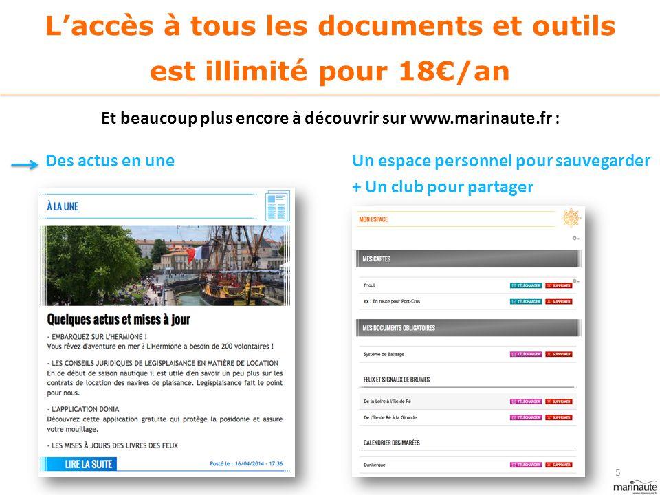 L'accès à tous les documents et outils est illimité pour 18€/an Et beaucoup plus encore à découvrir sur www.marinaute.fr : Un espace personnel pour sa
