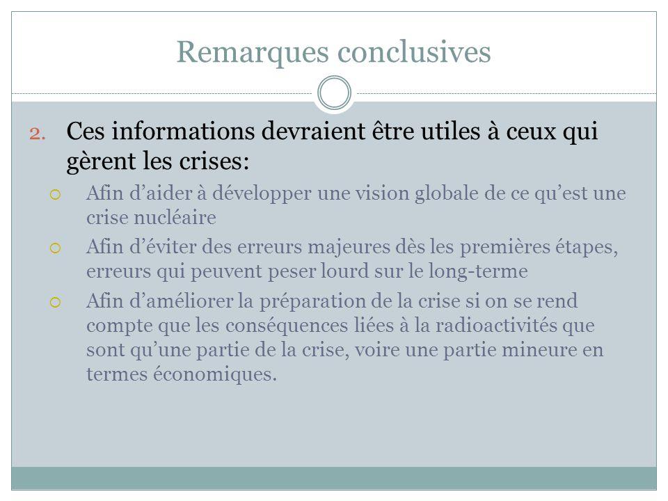 Remarques conclusives 2. Ces informations devraient être utiles à ceux qui gèrent les crises:  Afin d'aider à développer une vision globale de ce qu'