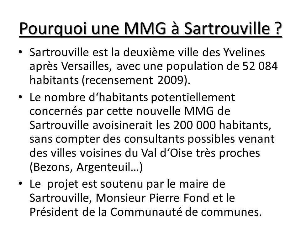 Pourquoi une MMG à Sartrouville ? Sartrouville est la deuxième ville des Yvelines après Versailles, avec une population de 52 084 habitants (recenseme