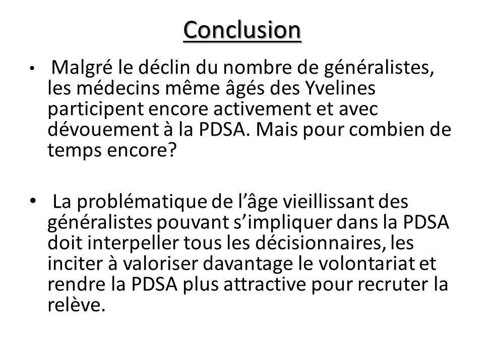 Conclusion Malgré le déclin du nombre de généralistes, les médecins même âgés des Yvelines participent encore activement et avec dévouement à la PDSA.