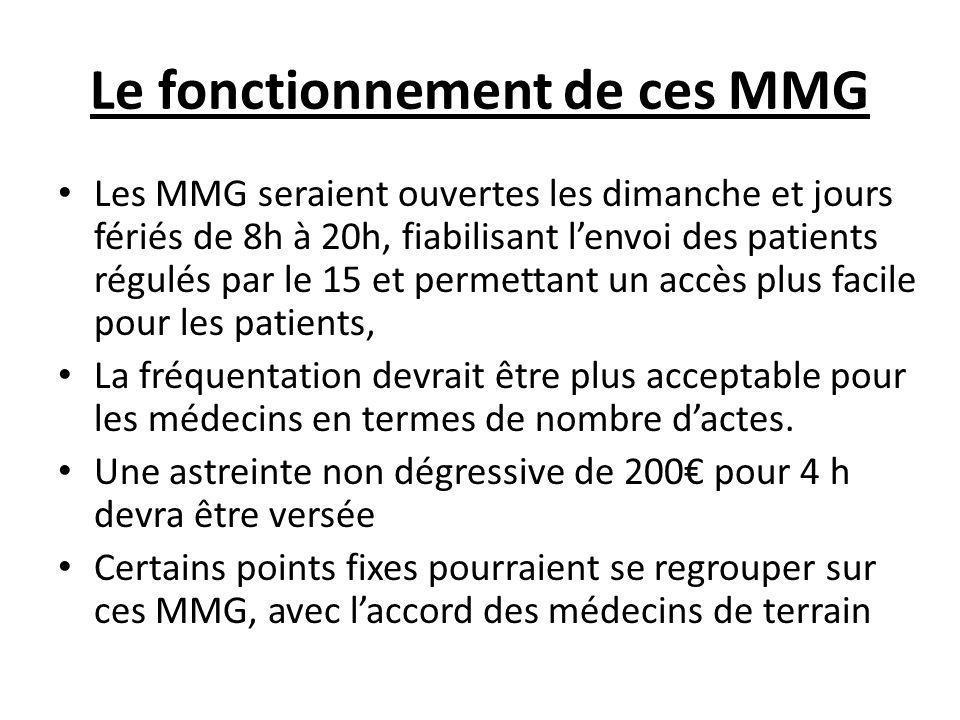 Le fonctionnement de ces MMG Les MMG seraient ouvertes les dimanche et jours fériés de 8h à 20h, fiabilisant l'envoi des patients régulés par le 15 et