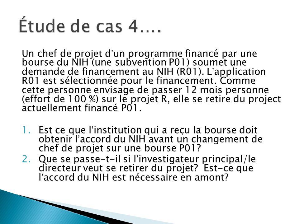Un chef de projet d'un programme financé par une bourse du NIH (une subvention P01) soumet une demande de financement au NIH (R01).