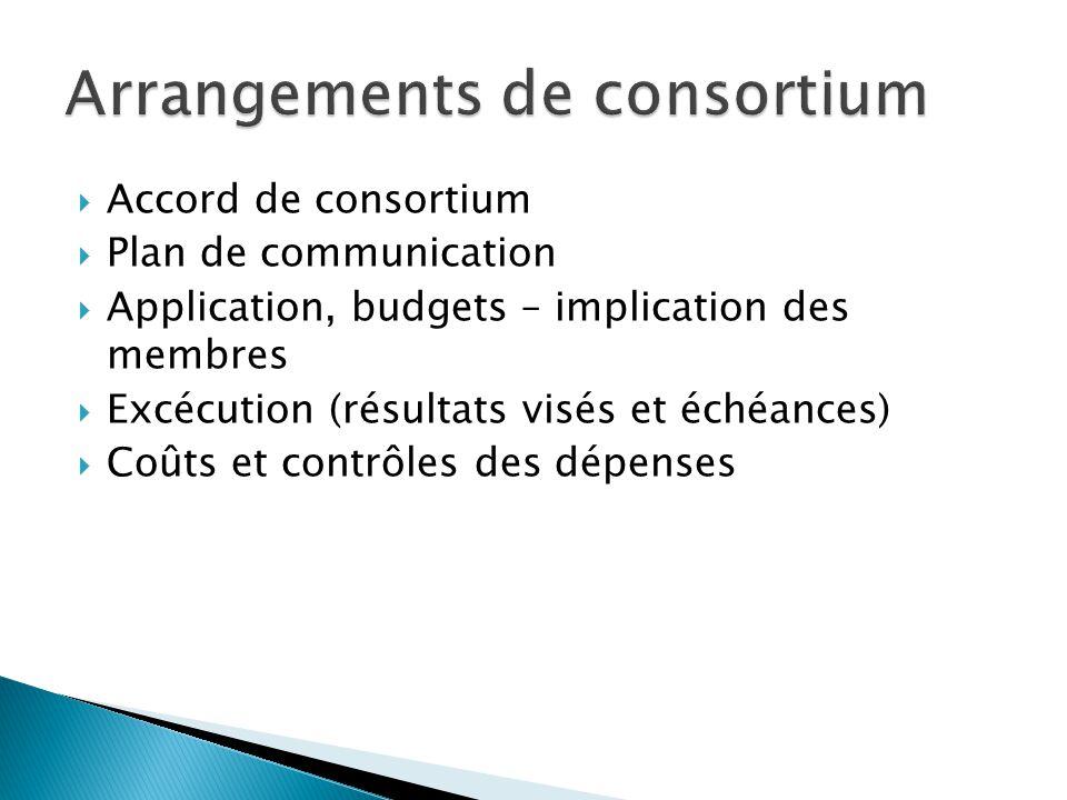  Accord de consortium  Plan de communication  Application, budgets – implication des membres  Excécution (résultats visés et échéances)  Coûts et contrôles des dépenses