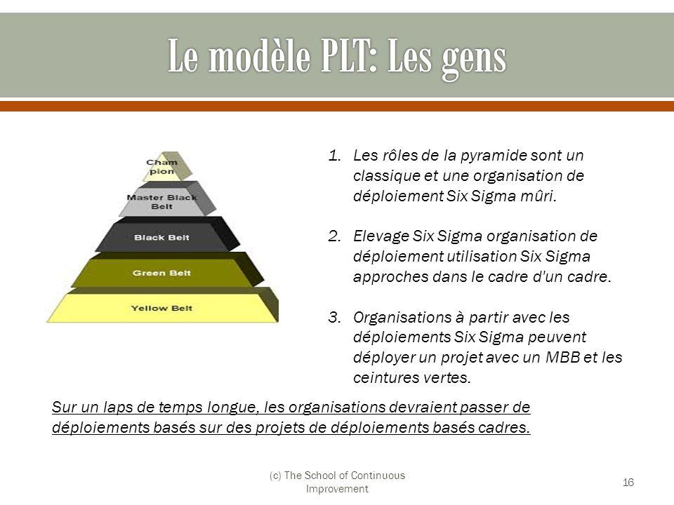 (c) The School of Continuous Improvement 16 1.Les rôles de la pyramide sont un classique et une organisation de déploiement Six Sigma mûri. 2.Elevage