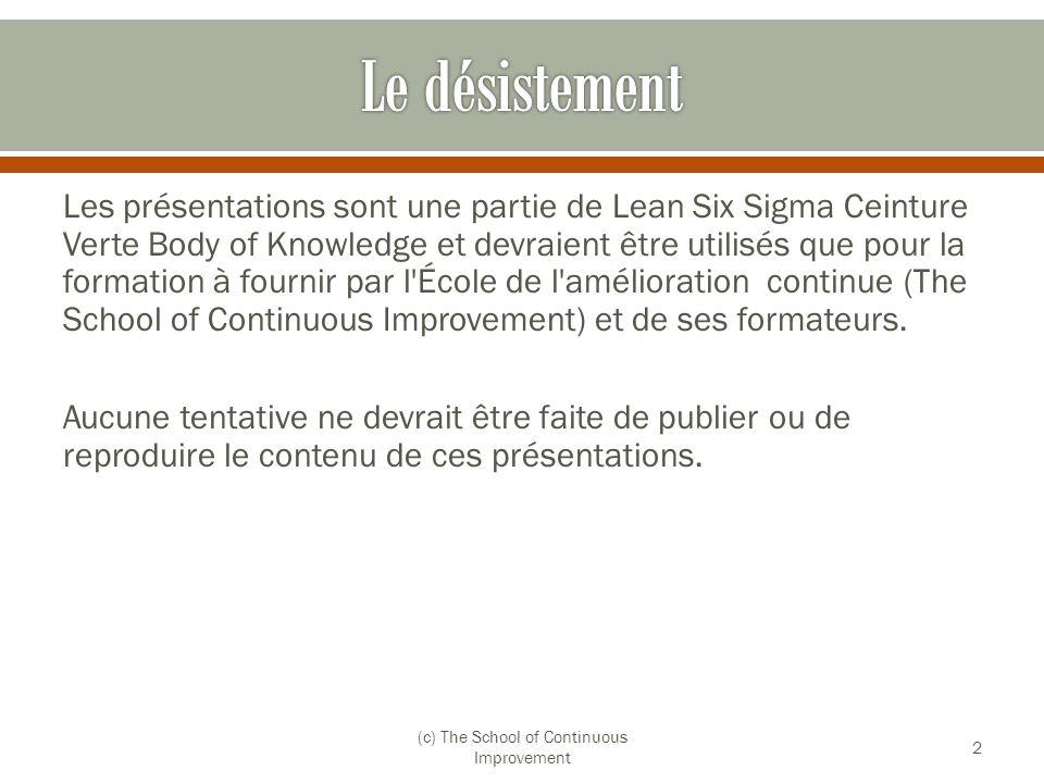 Les présentations sont une partie de Lean Six Sigma Ceinture Verte Body of Knowledge et devraient être utilisés que pour la formation à fournir par l'