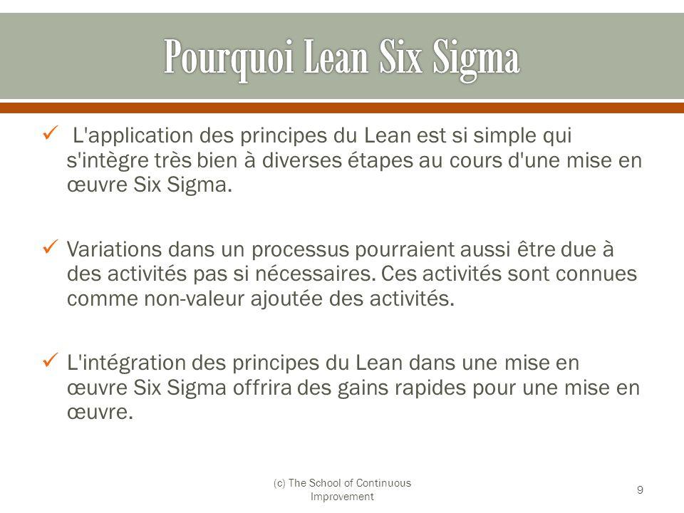 L'application des principes du Lean est si simple qui s'intègre très bien à diverses étapes au cours d'une mise en œuvre Six Sigma. Variations dans un