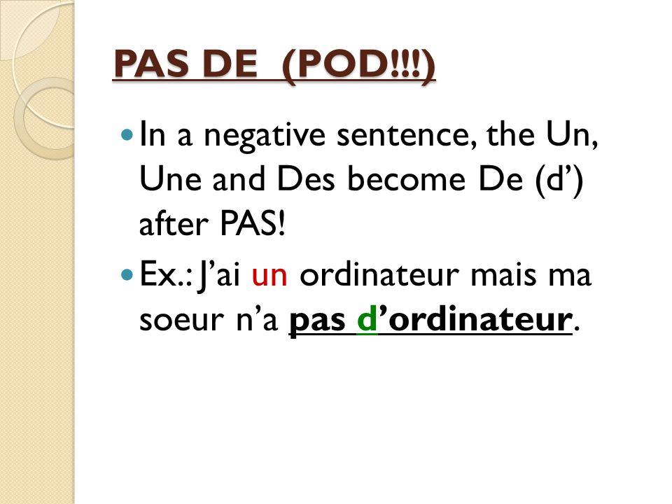 French II-Reprise Grammar A. Definite/indefinite articles B. Negative of Un/une/Des C. Subject pronouns D. Contractions E. Jouer + À or De F. Possessi