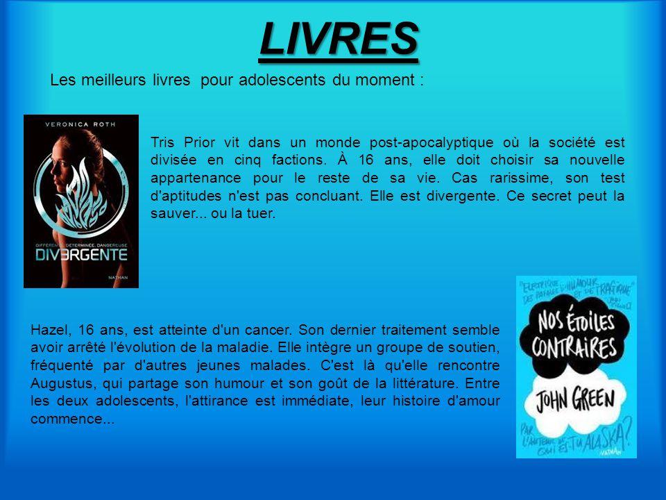 LIVRES Tris Prior vit dans un monde post-apocalyptique où la société est divisée en cinq factions. À 16 ans, elle doit choisir sa nouvelle appartenanc