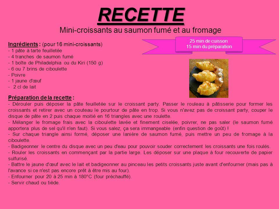 RECETTE Mini-croissants au saumon fumé et au fromage Ingrédients : (pour 16 mini-croissants) - 1 pâte à tarte feuilletée - 4 tranches de saumon fumé -