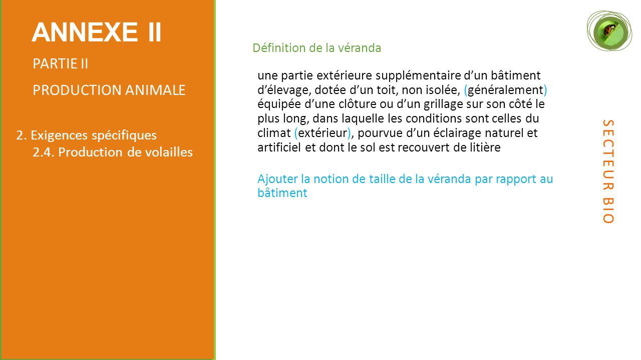 Définition de la véranda ANNEXE II PARTIE II PRODUCTION ANIMALE 2.