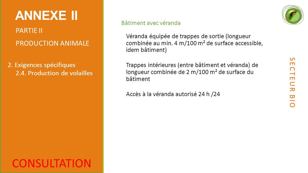 Bâtiment avec véranda CONSULTATION ANNEXE II PARTIE II PRODUCTION ANIMALE 2.