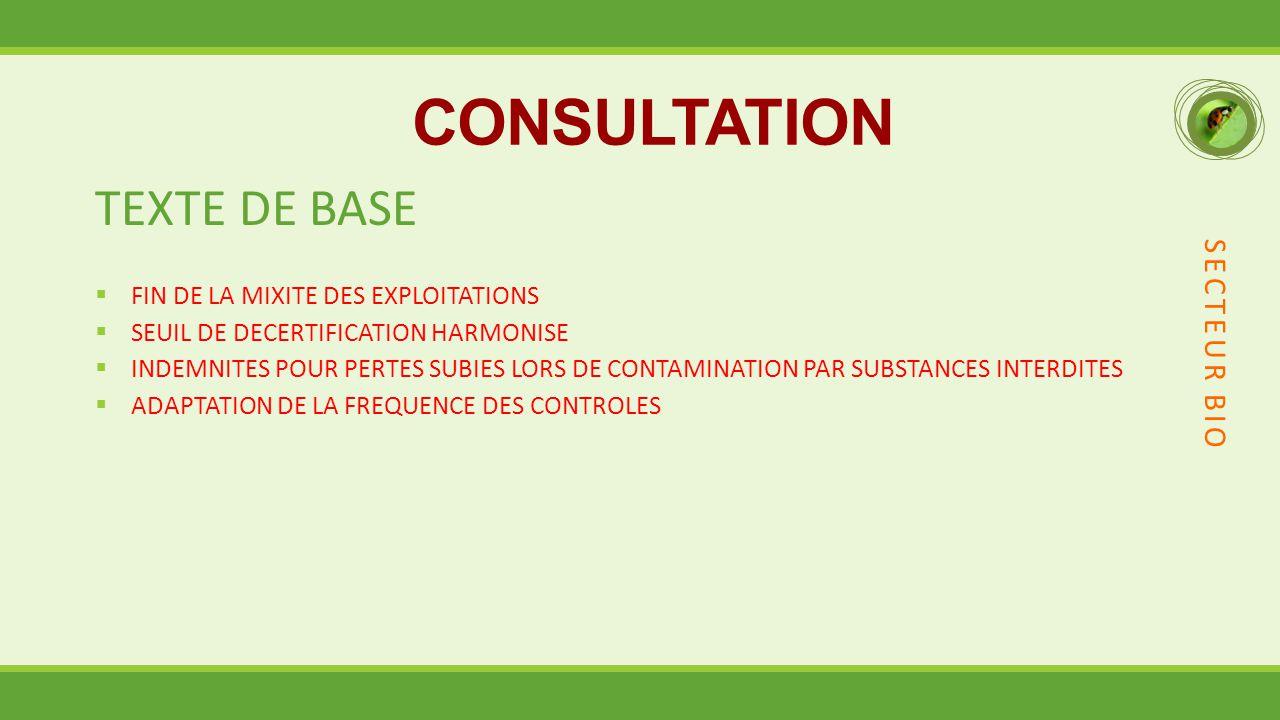 CONSULTATION TEXTE DE BASE  FIN DE LA MIXITE DES EXPLOITATIONS  SEUIL DE DECERTIFICATION HARMONISE  INDEMNITES POUR PERTES SUBIES LORS DE CONTAMINATION PAR SUBSTANCES INTERDITES  ADAPTATION DE LA FREQUENCE DES CONTROLES SECTEUR BIO