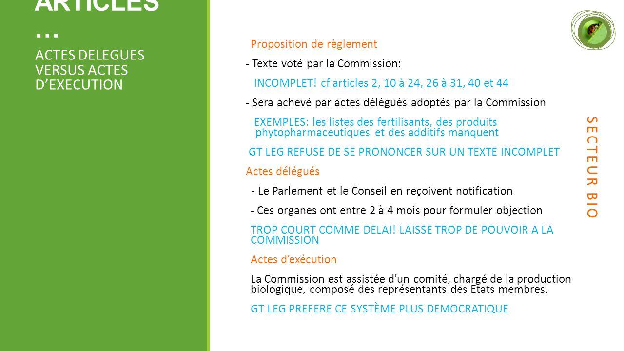 ARTICLES … Proposition de règlement - Texte voté par la Commission: INCOMPLET.