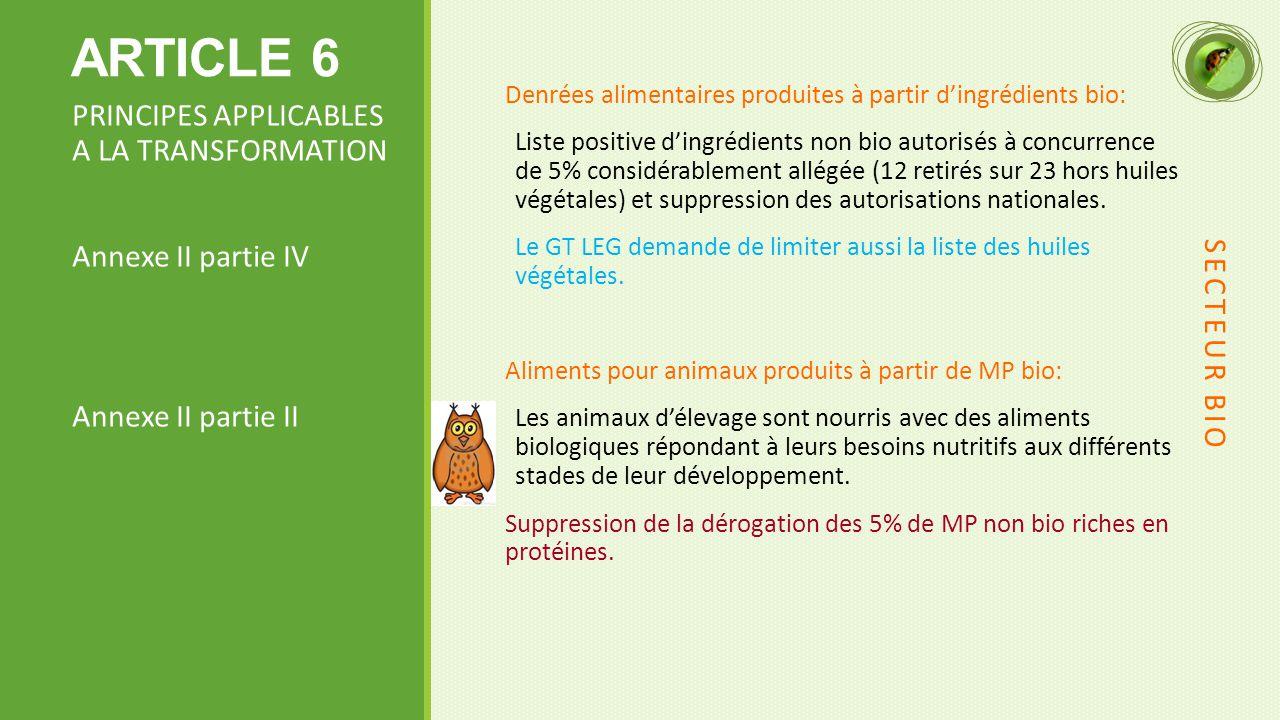 ARTICLE 6 Denrées alimentaires produites à partir d'ingrédients bio: Liste positive d'ingrédients non bio autorisés à concurrence de 5% considérablement allégée (12 retirés sur 23 hors huiles végétales) et suppression des autorisations nationales.