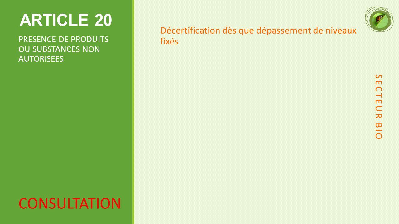 ARTICLE 20 Décertification dès que dépassement de niveaux fixés PRESENCE DE PRODUITS OU SUBSTANCES NON AUTORISEES SECTEUR BIO CONSULTATION