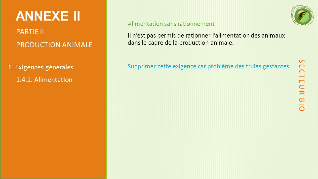 Alimentation sans rationnement Il n'est pas permis de rationner l'alimentation des animaux dans le cadre de la production animale.