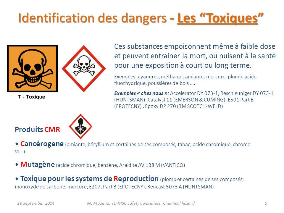Identification des dangers - Les Toxiques Ces substances empoisonnent même à faible dose et peuvent entrainer la mort, ou nuisent à la santé pour une exposition à court ou long terme.