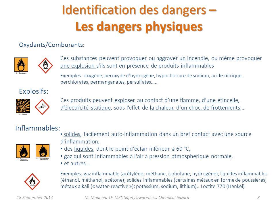 Identification des dangers – Les dangers physiques Ces produits peuvent exploser au contact d'une flamme, d'une étincelle, d'électricité statique, sous l'effet de la chaleur, d'un choc, de frottements,… Ces substances peuvent provoquer ou aggraver un incendie, ou même provoquer une explosion s'ils sont en présence de produits inflammables Exemples: oxygène, peroxyde d'hydrogène, hypochlorure de sodium, acide nitrique, perchlorates, permanganates, persulfates…..