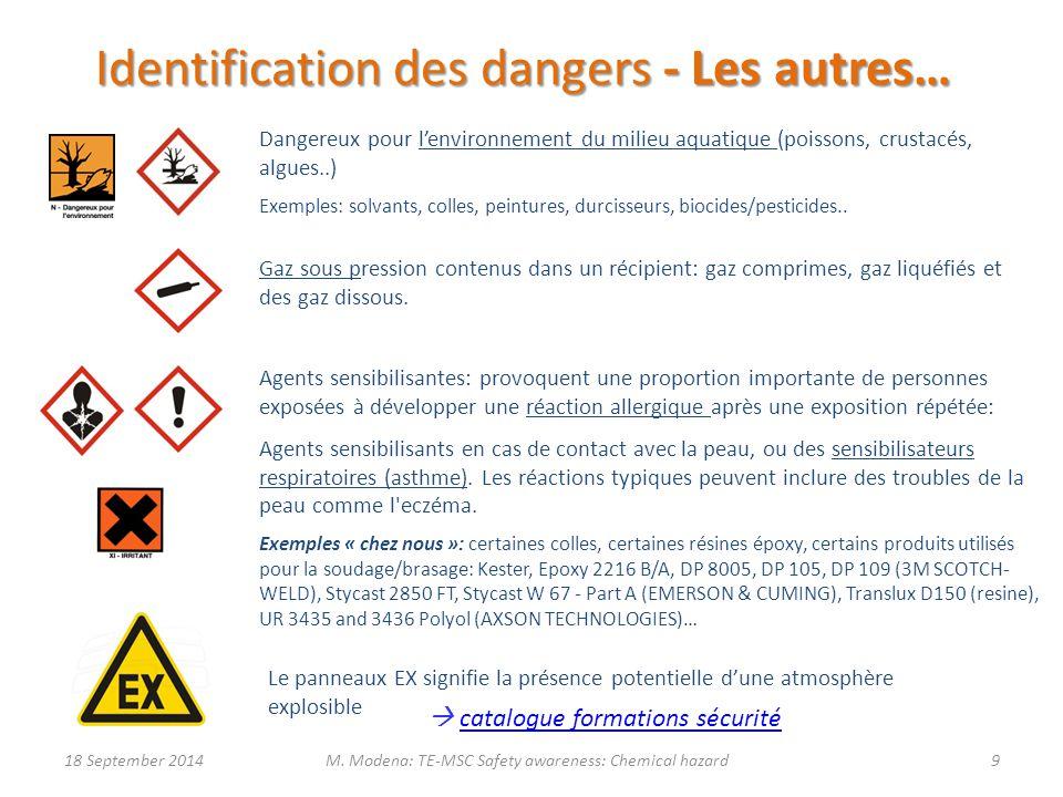 Identification des dangers - Les autres… Dangereux pour l'environnement du milieu aquatique (poissons, crustacés, algues..) Exemples: solvants, colles, peintures, durcisseurs, biocides/pesticides..