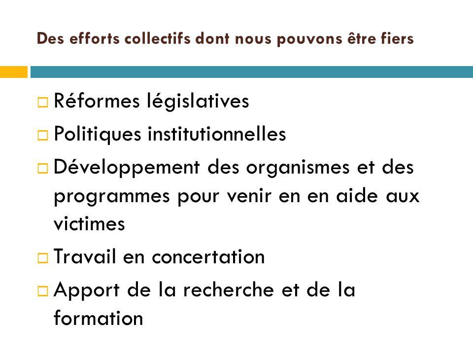 Des efforts collectifs dont nous pouvons être fiers  Réformes législatives  Politiques institutionnelles  Développement des organismes et des programmes pour venir en en aide aux victimes  Travail en concertation  Apport de la recherche et de la formation
