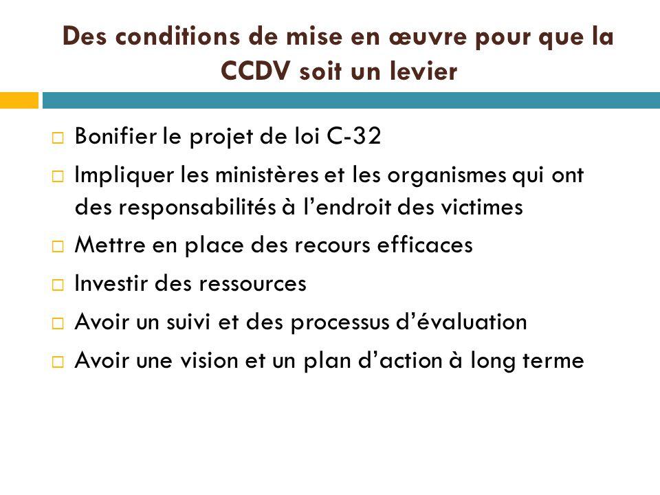 Des conditions de mise en œuvre pour que la CCDV soit un levier  Bonifier le projet de loi C-32  Impliquer les ministères et les organismes qui ont des responsabilités à l'endroit des victimes  Mettre en place des recours efficaces  Investir des ressources  Avoir un suivi et des processus d'évaluation  Avoir une vision et un plan d'action à long terme