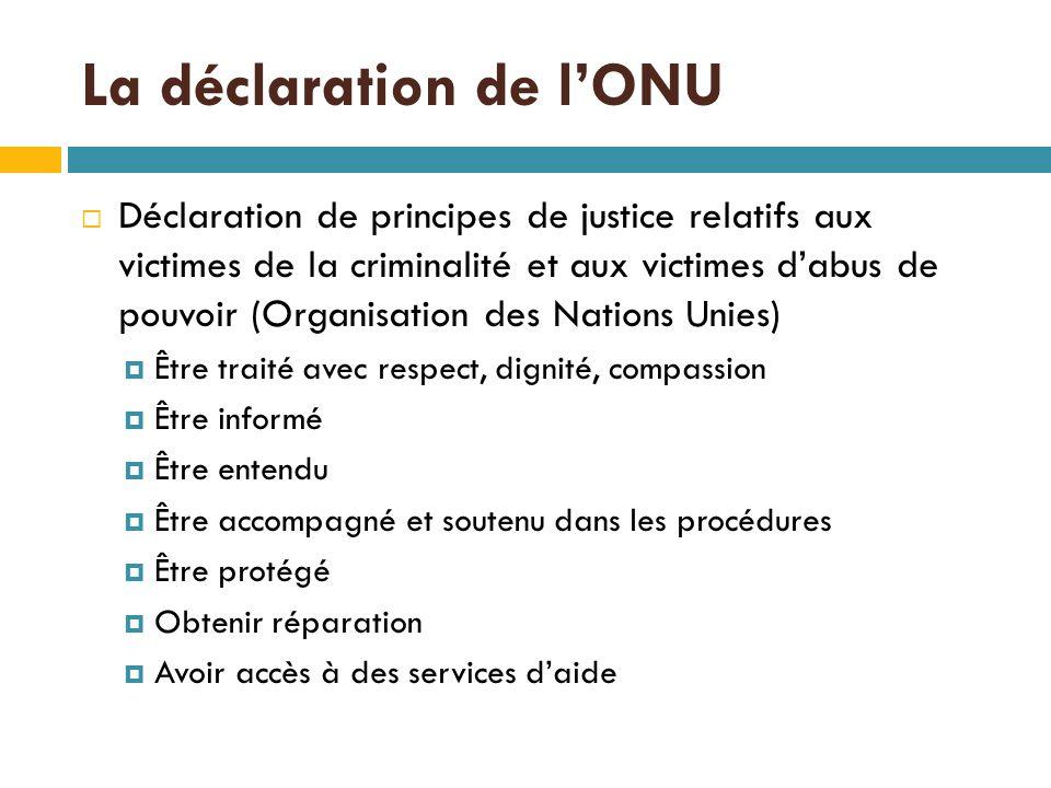  Déclaration de principes de justice relatifs aux victimes de la criminalité et aux victimes d'abus de pouvoir (Organisation des Nations Unies)  Être traité avec respect, dignité, compassion  Être informé  Être entendu  Être accompagné et soutenu dans les procédures  Être protégé  Obtenir réparation  Avoir accès à des services d'aide La déclaration de l'ONU