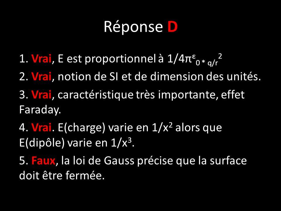 Réponse D 1. Vrai, E est proportionnel à 1/4π ε 0 * q/r 2 2.