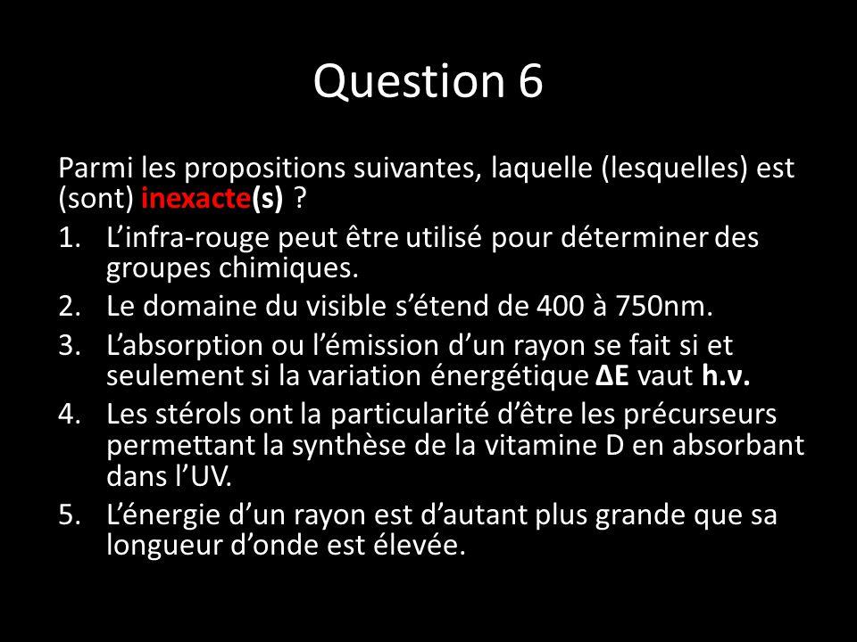 Question 6 Parmi les propositions suivantes, laquelle (lesquelles) est (sont) inexacte(s) .