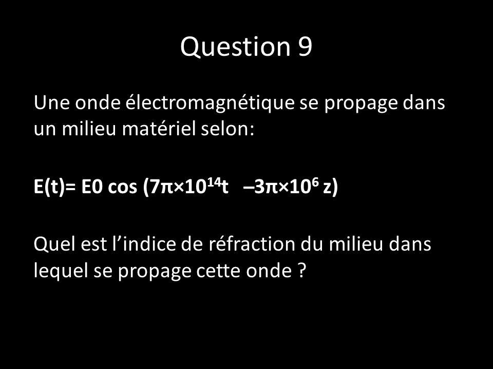Question 9 Une onde électromagnétique se propage dans un milieu matériel selon: E(t)= E0 cos (7π×10 14 t ̶ 3π×10 6 z) Quel est l'indice de réfraction du milieu dans lequel se propage cette onde