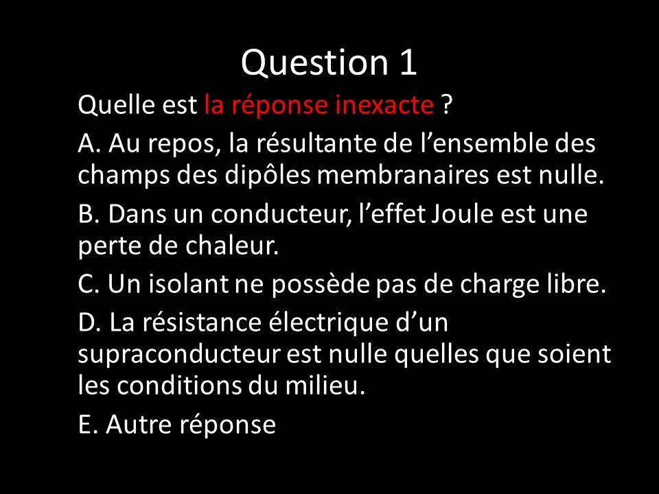 Question 1 Quelle est la réponse inexacte . A.