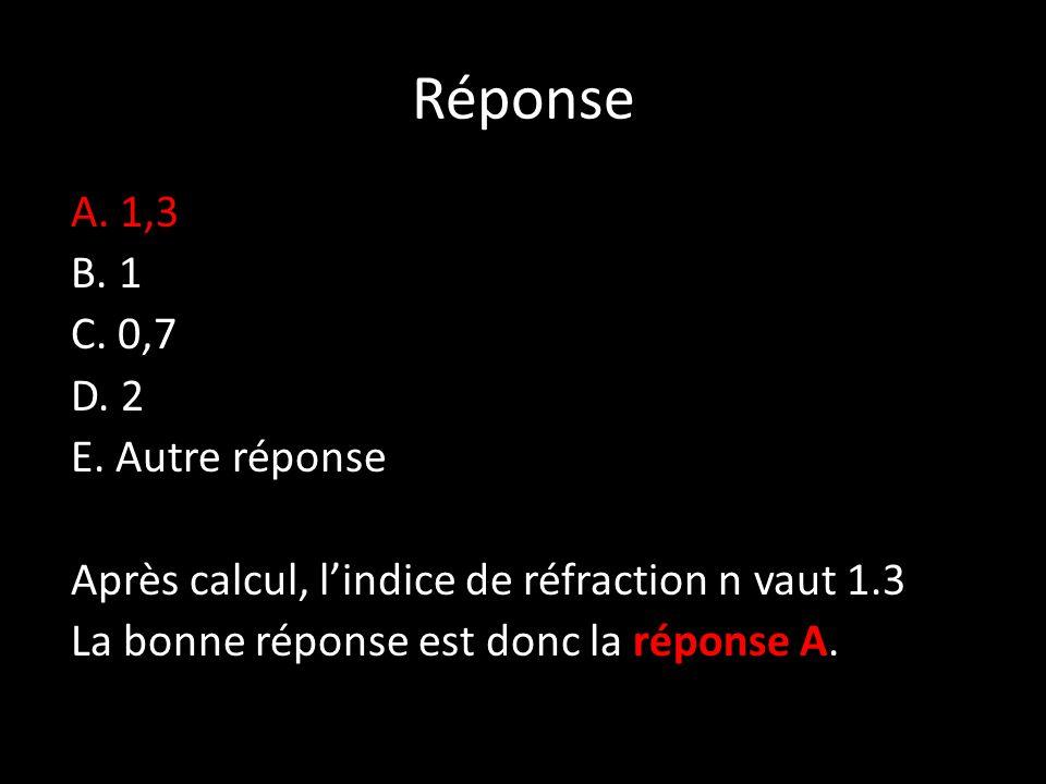 Réponse A. 1,3 B. 1 C. 0,7 D. 2 E.
