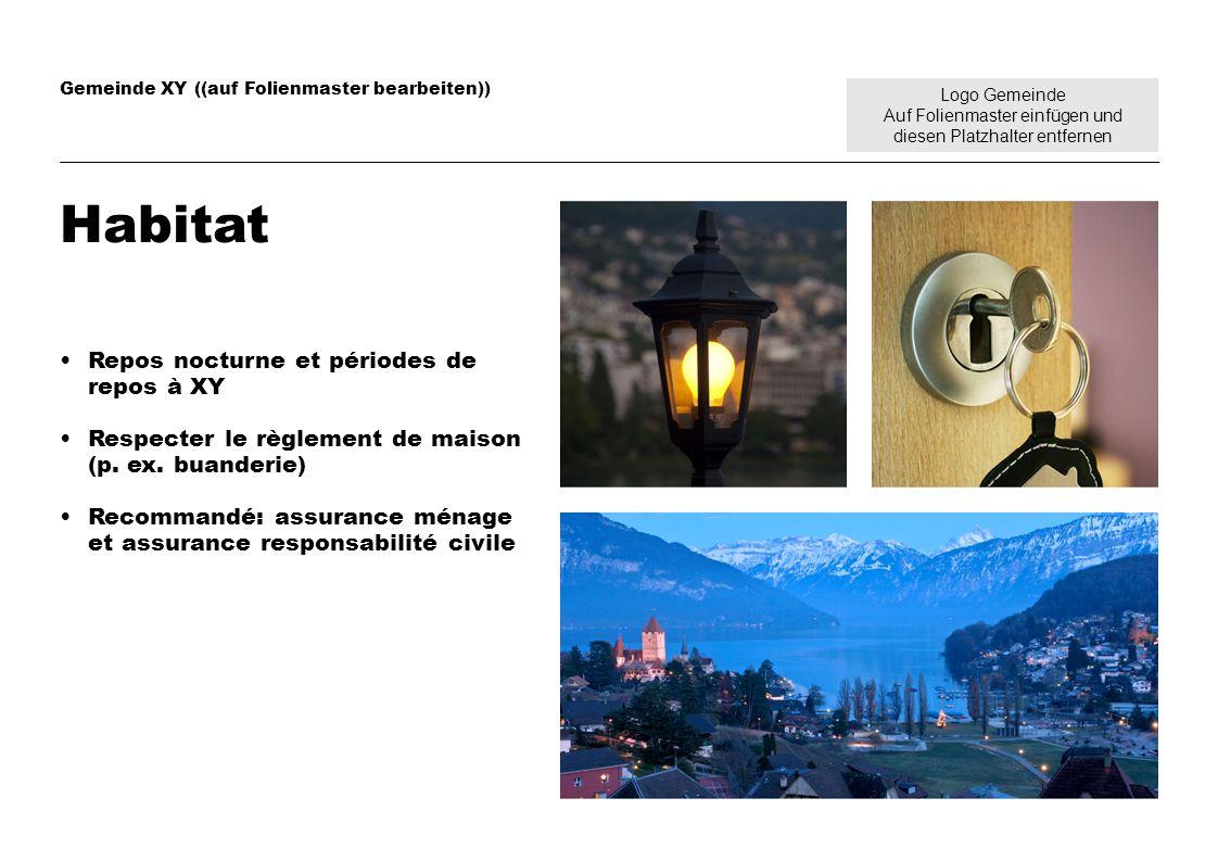 Logo Gemeinde Auf Folienmaster einfügen und diesen Platzhalter entfernen Gemeinde XY ((auf Folienmaster bearbeiten)) Habitat Repos nocturne et périodes de repos à XY Respecter le règlement de maison (p.