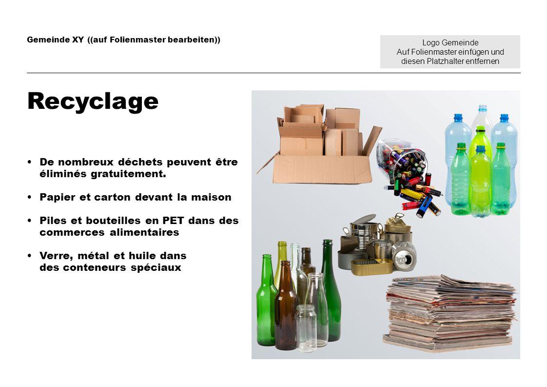 Logo Gemeinde Auf Folienmaster einfügen und diesen Platzhalter entfernen Gemeinde XY ((auf Folienmaster bearbeiten)) Recyclage De nombreux déchets peuvent être éliminés gratuitement.